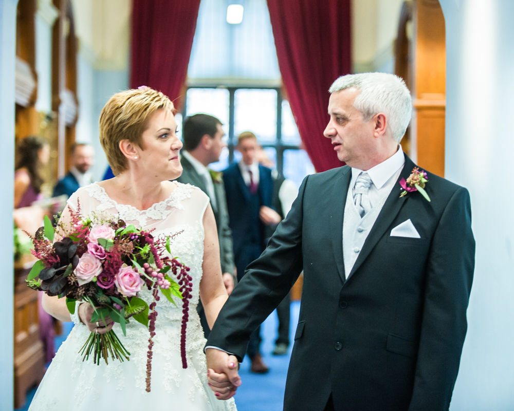 Walking down aisle, Sheffield town hall weddings