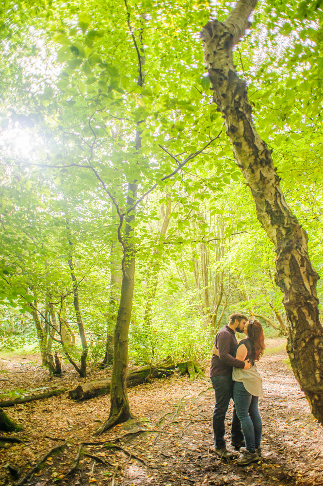 kissing in Greno woods, sheffield weddings