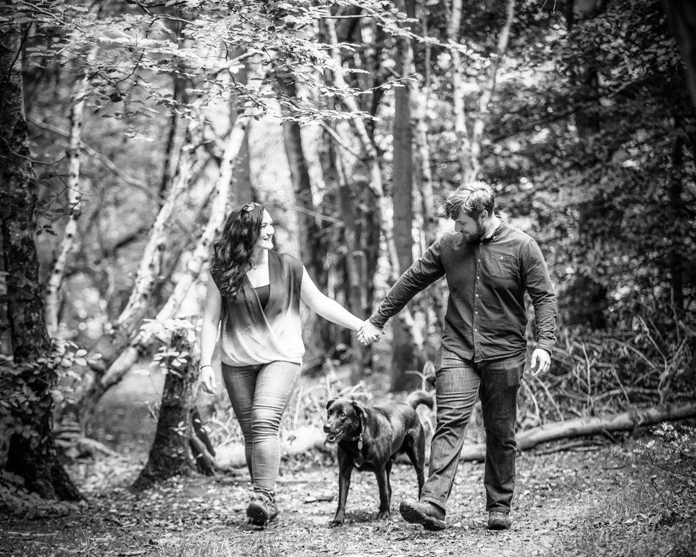 Walking dog, Greno woods engagement portraits