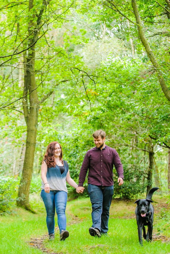 Walking in woods, Sheffield wedding photographers