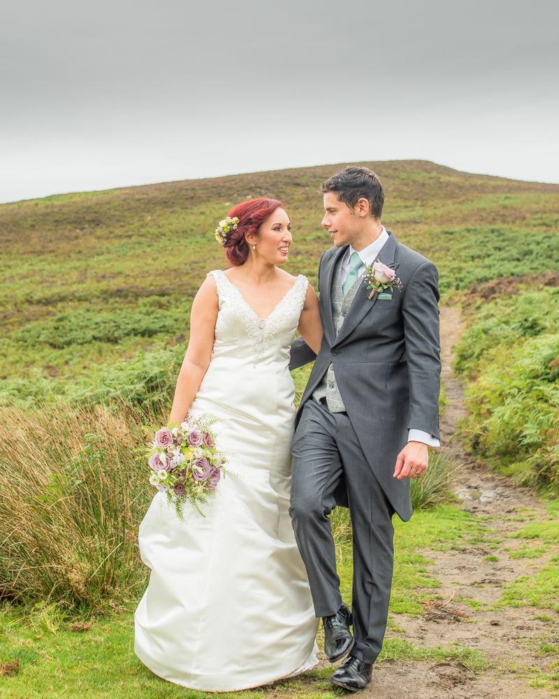 Walking on the moors, Sheffield wedding photographers