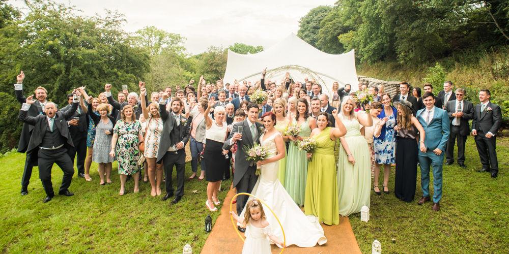 Full wedding group photo, Sheffield wedding photographers