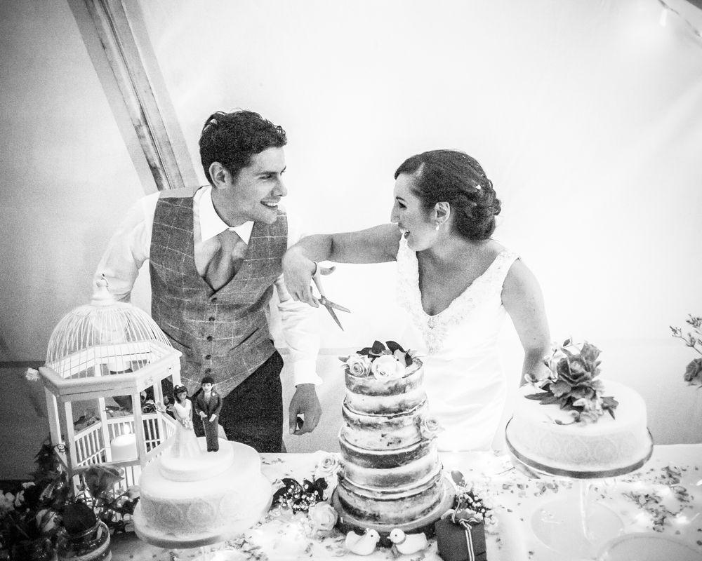 Cutting of cake, Sheffield wedding photographers