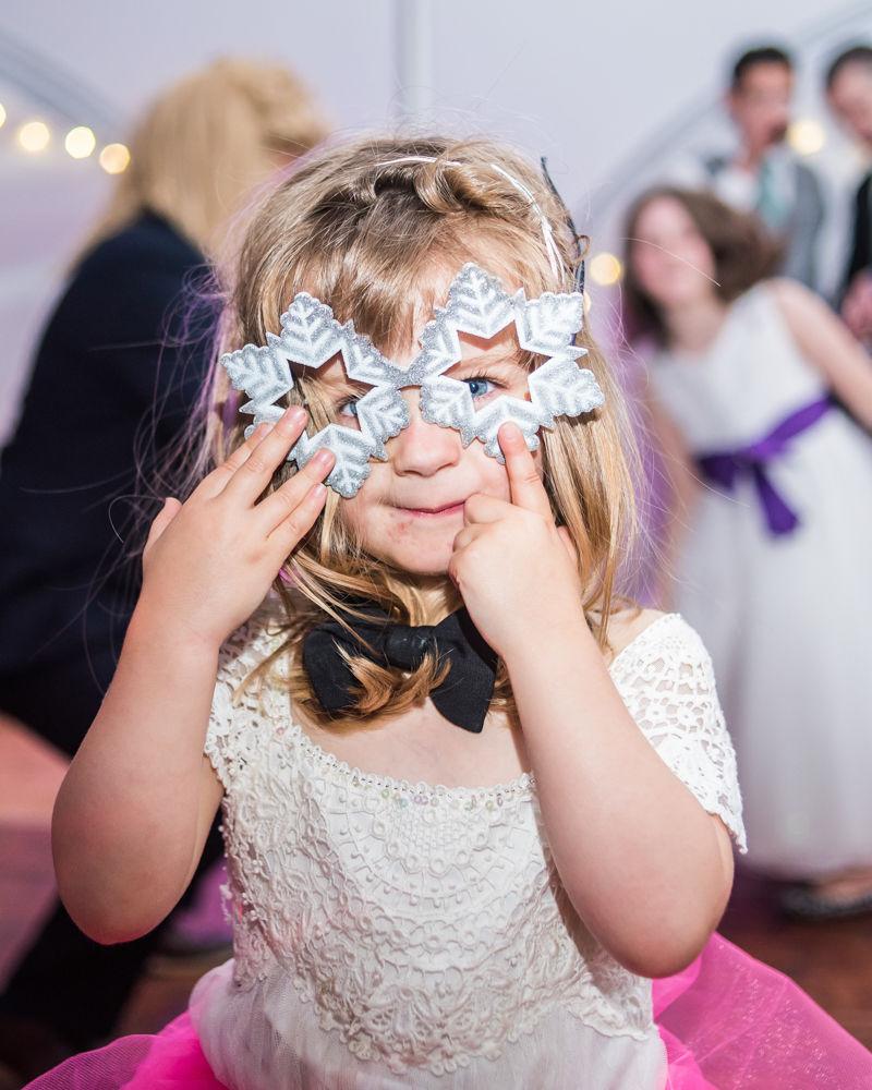 flowergirl on dancefloor, Sheffield wedding photographers
