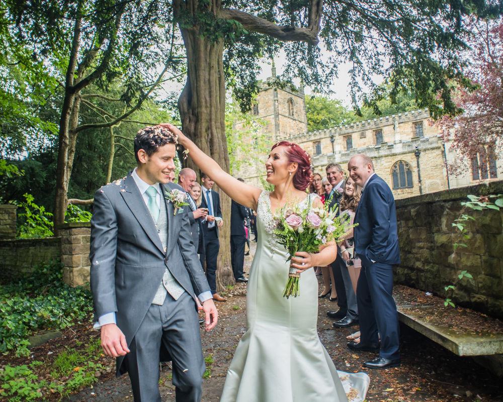 Confetti on head, Sheffield wedding photographers
