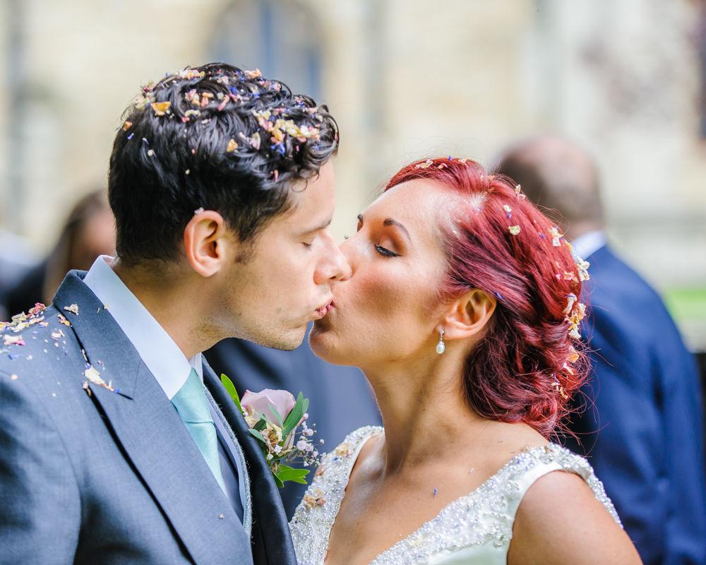 Confetti kiss, Sheffield wedding photographers