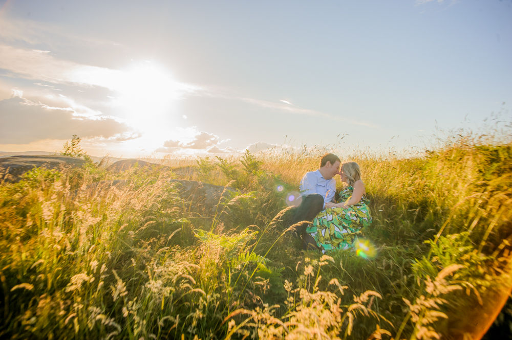 Sunshine, summer engagement portraits Sheffield