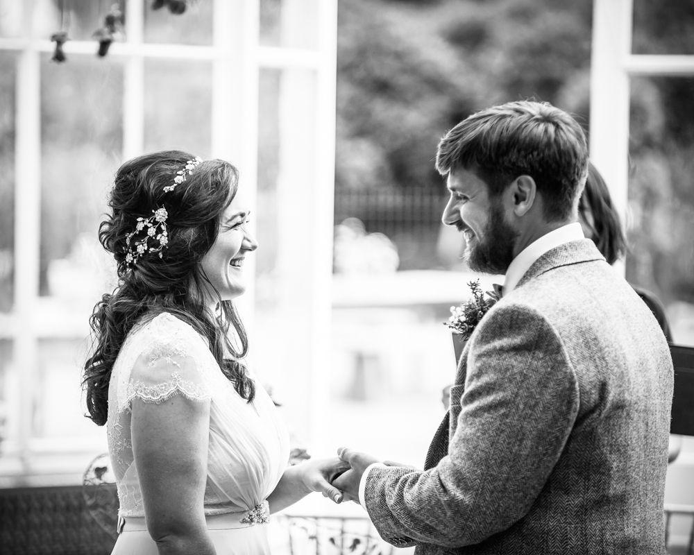 Ring exchange,  Wentworth Castle Garden wedding, Sheffield photographers