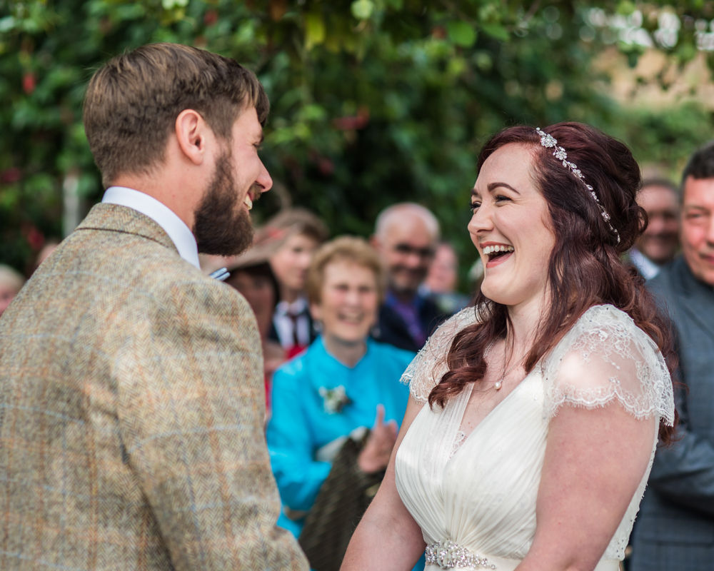 Laughter in ceremony,  Wentworth Castle Garden wedding, Sheffield photographers