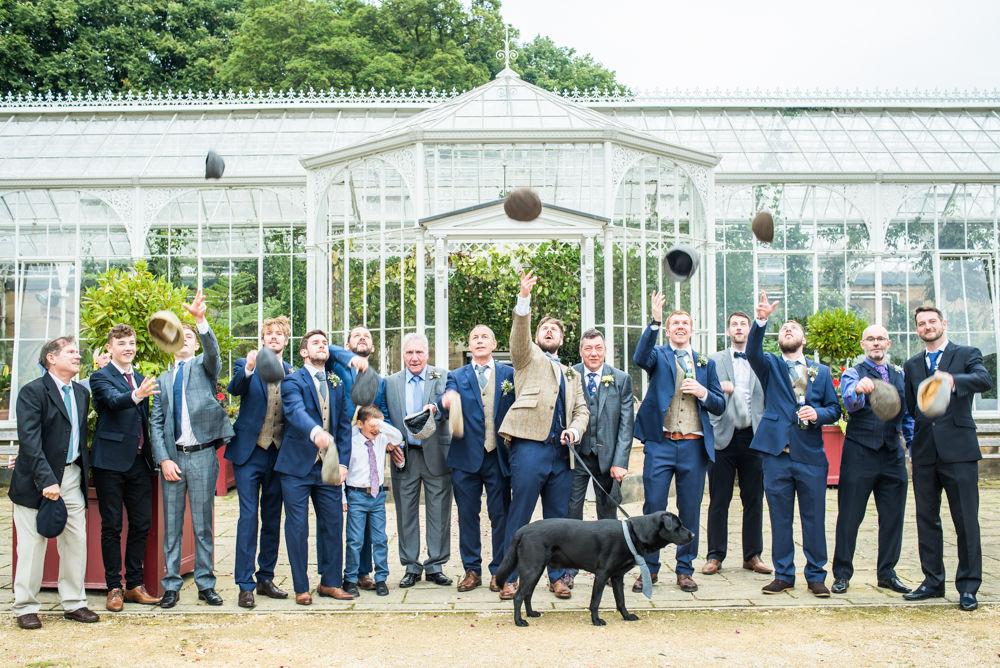 Flat cap toss!  Wentworth Castle Garden wedding, Sheffield photographers