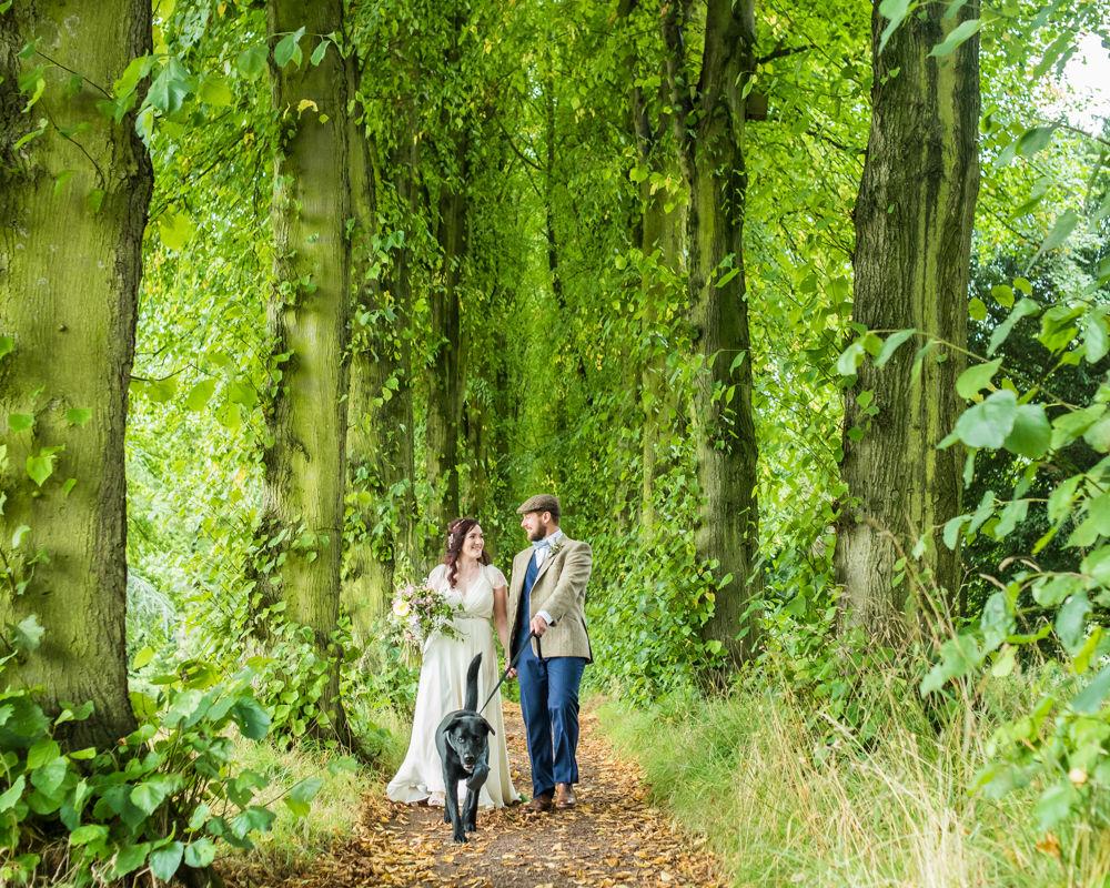 Walking with dog, lady lucy's walkm  Wentworth Castle Garden wedding, Sheffield photographers