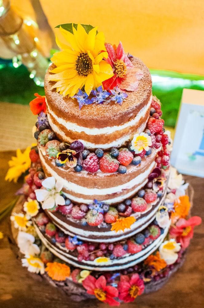 Naked wedding cake,  Wentworth Castle Garden wedding, Sheffield photographers