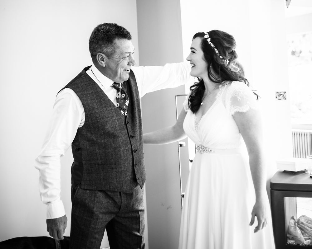 Dad seeing bride for first time, Wentworth Castle Garden wedding, Sheffield photographers