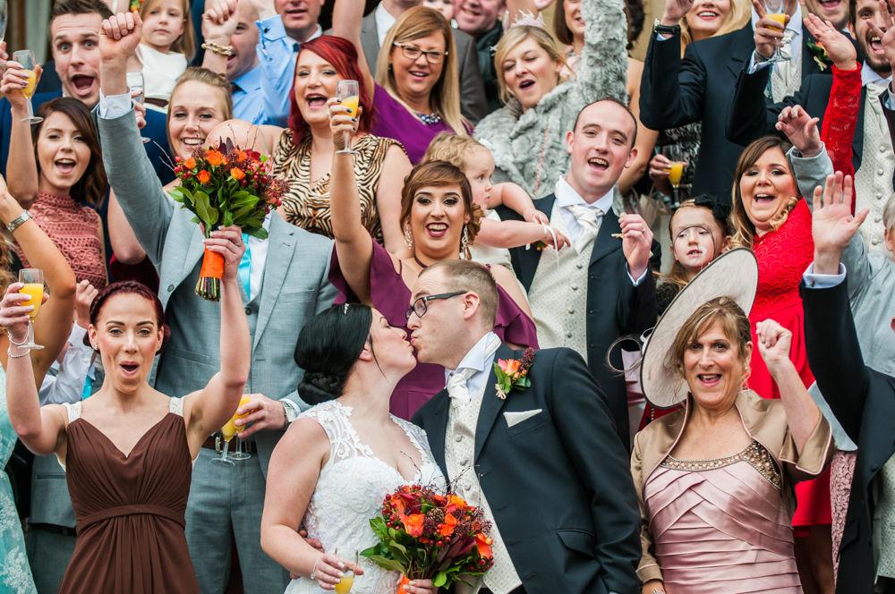 Kisses, group photo, Wortley Hall wedding, Sheffield wedding photographers
