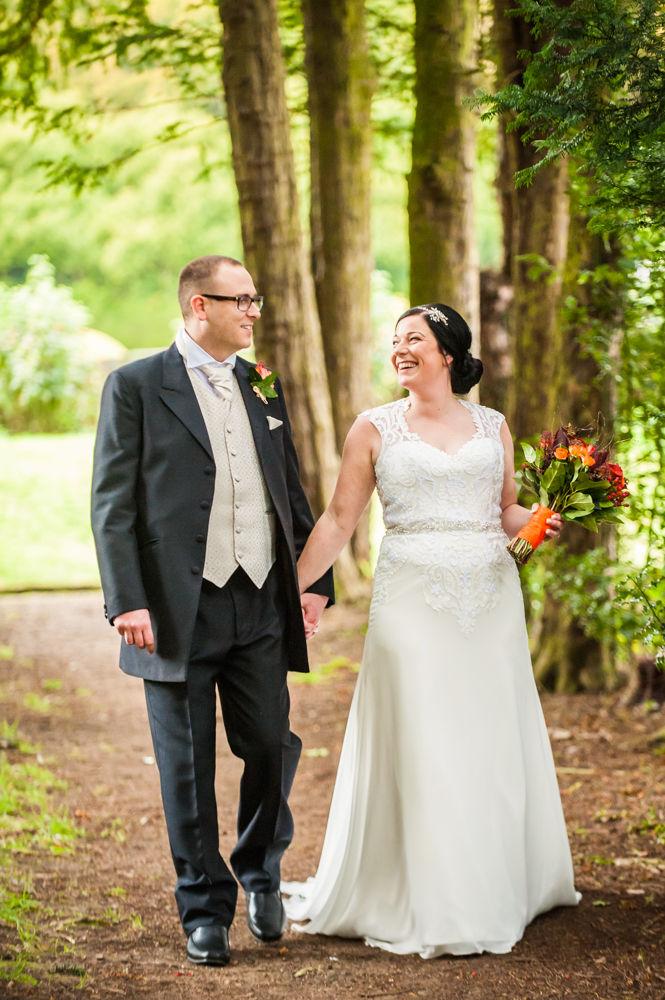 Walking along the tree lined walk, Wortley Hall wedding, Sheffield wedding photographers