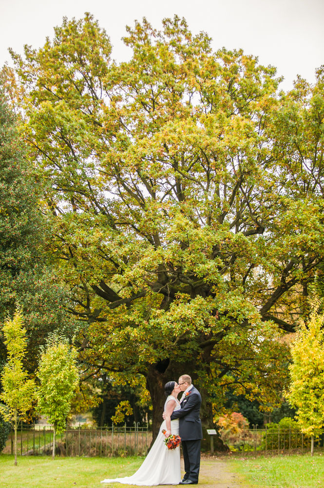 Kisses under the old tree, Wortley Hall wedding, Sheffield wedding photographers