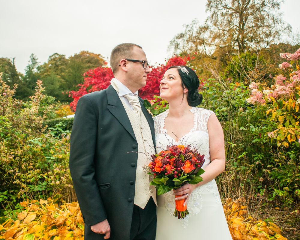 Autumnal grounds of venue, Wortley Hall wedding, Sheffield wedding photographers