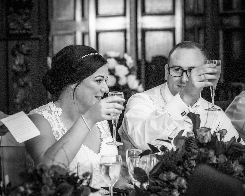Cheers on speeches, Wortley Hall wedding, Sheffield wedding photographers