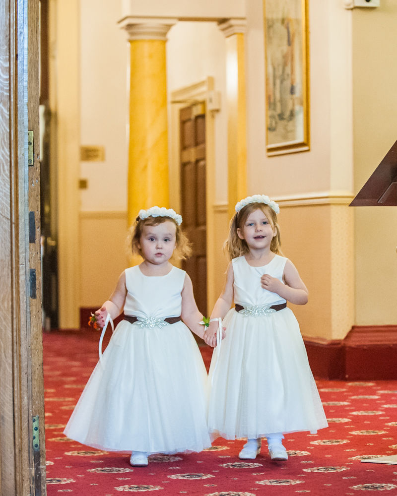 Bridesmaids walking down aisle, Wortley Hall wedding, Sheffield wedding photographers
