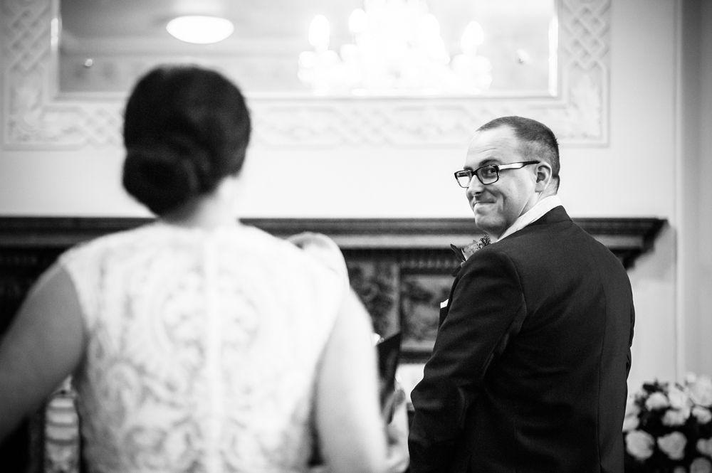 Groom looking back, Wortley Hall wedding, Sheffield wedding photographers