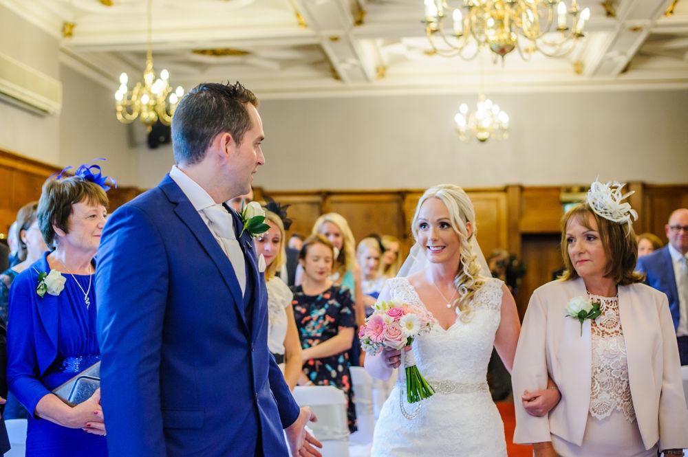 Bride walking up aisle, Maynard wedding photography Sheffield
