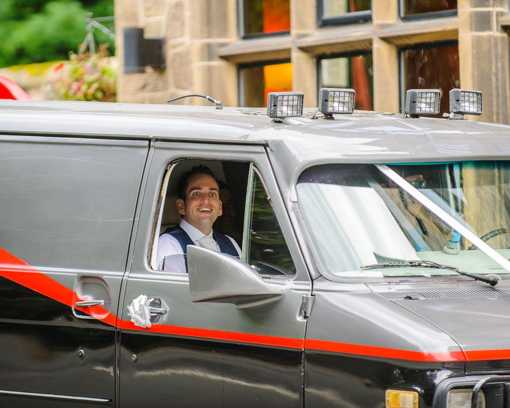 Groom arriving in A-team van, Maynard wedding photography Sheffield