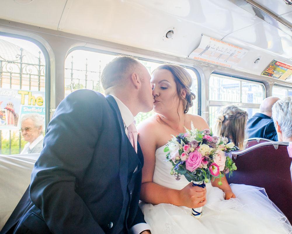 Inside vintage bus,  Botanical Gardens Wedding Sheffield