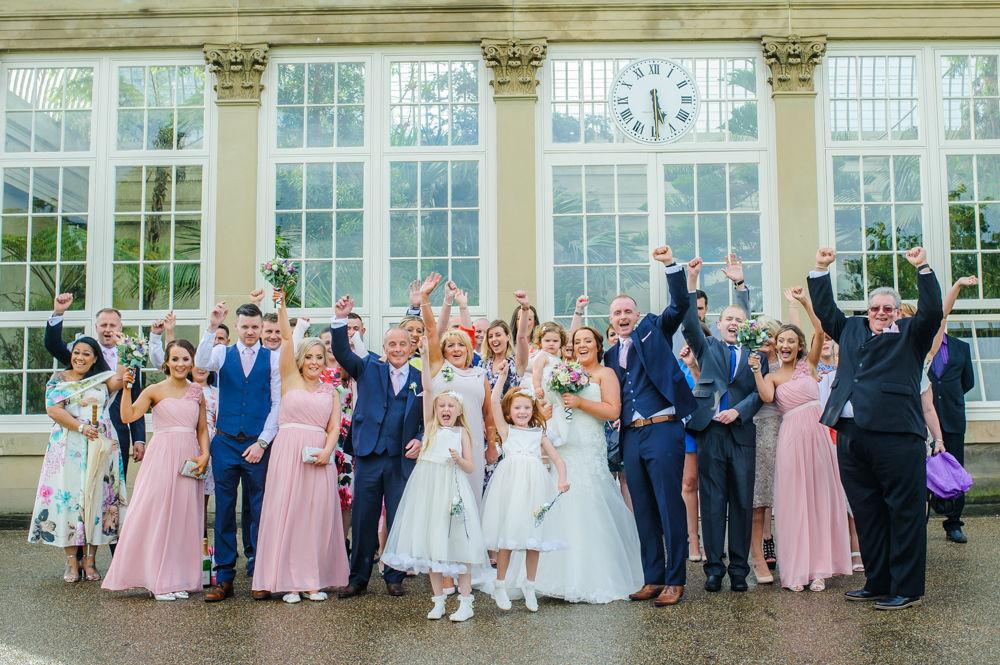 Group photo, Botanical Gardens Wedding Sheffield