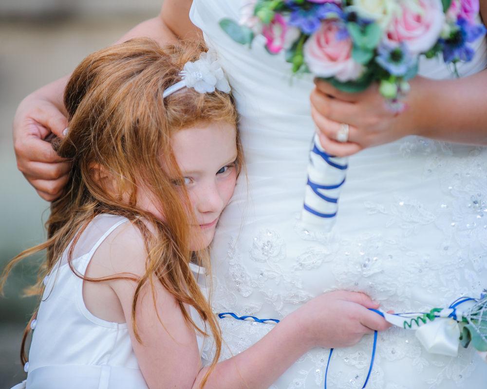 Flower girl cuddle,  Botanical Gardens Wedding Sheffield