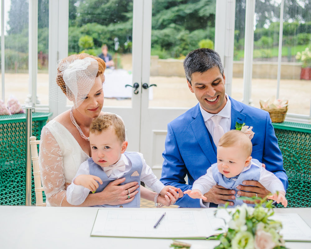 Bride and groom with pageboy sons. Wentworth weddings