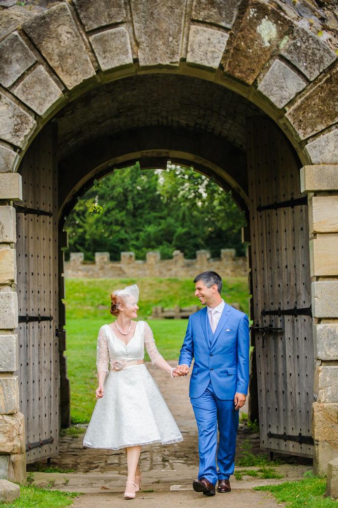 Walking through castle, Sheffield weddings