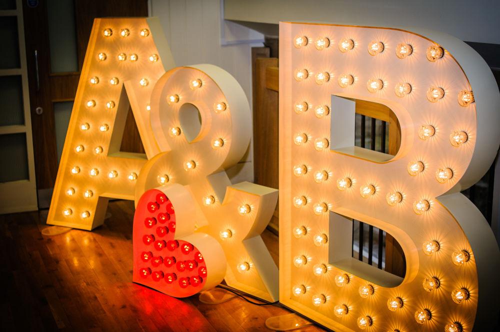 Light up wedding letters on dancefloor, Lake District weddings