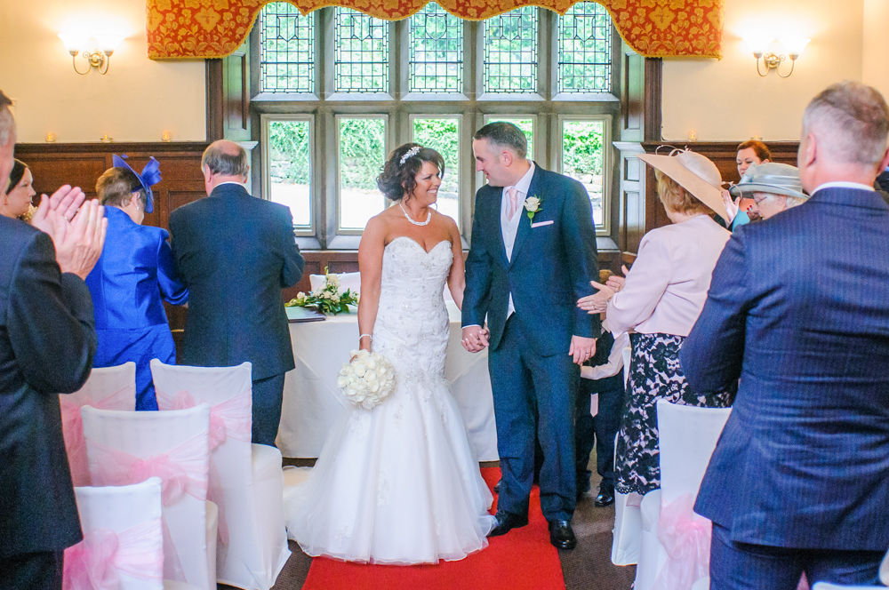Walking down aisle, Whitley Hall weddings, Sheffield wedding photographers