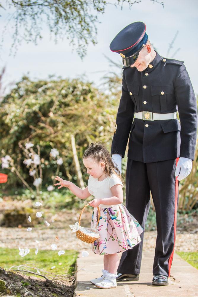 flower girl throwing petals, Greens at Gretna wedding photography