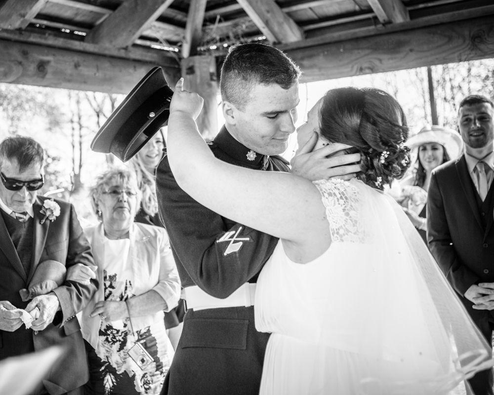 First kiss, military wedding, Greens at Gretna weddings