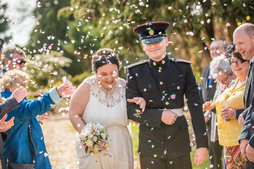 Confetti walk, military wedding, Lake District wedding photographers