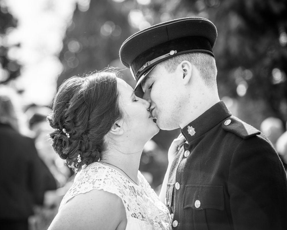 Kisses, Greens at Gretna wedding