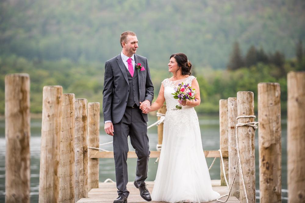 Walking down jetty, Lingholm wedding, Lake District