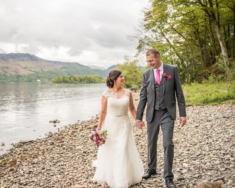 Laughing walking, Lingholm wedding, Lake District