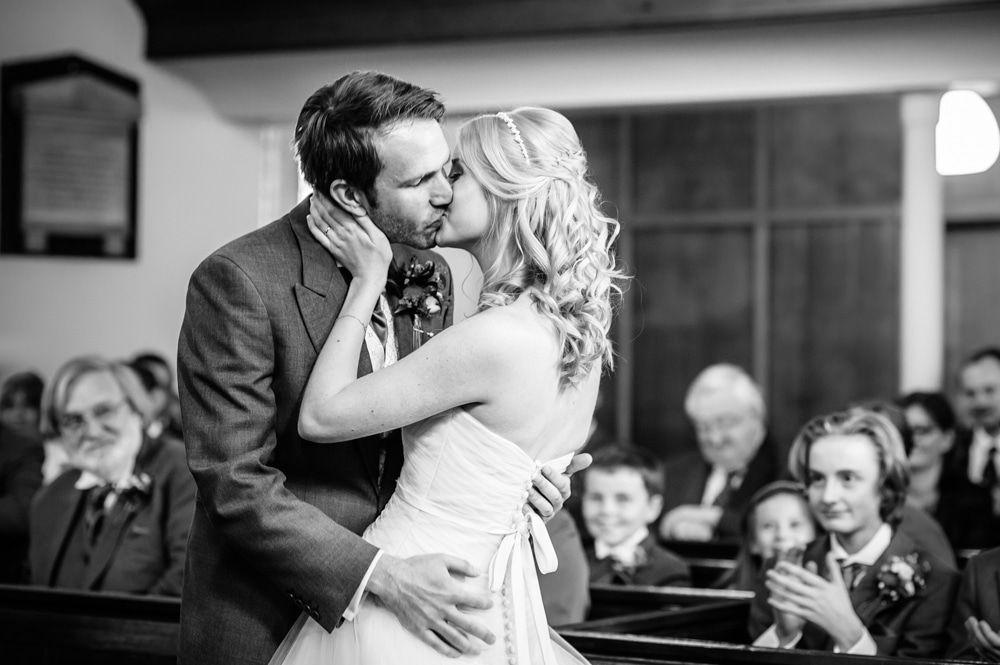 First kiss, Maynard wedding, Sheffield photographers