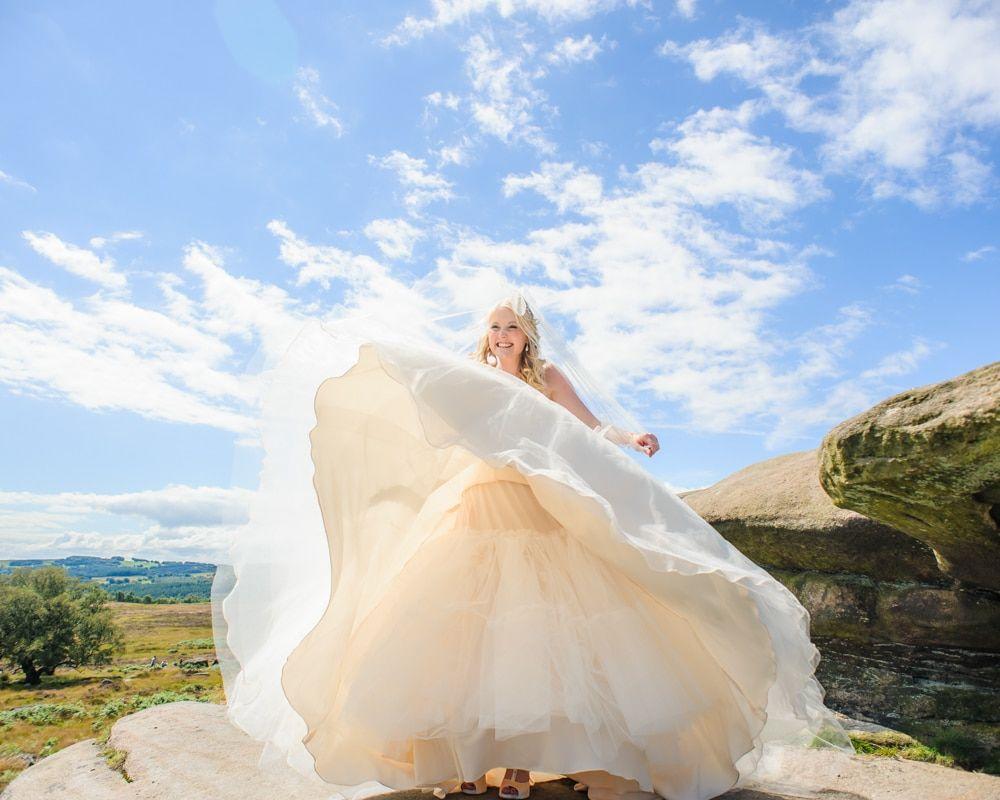 Dress catches the wind! Maynard wedding, Sheffield photographers