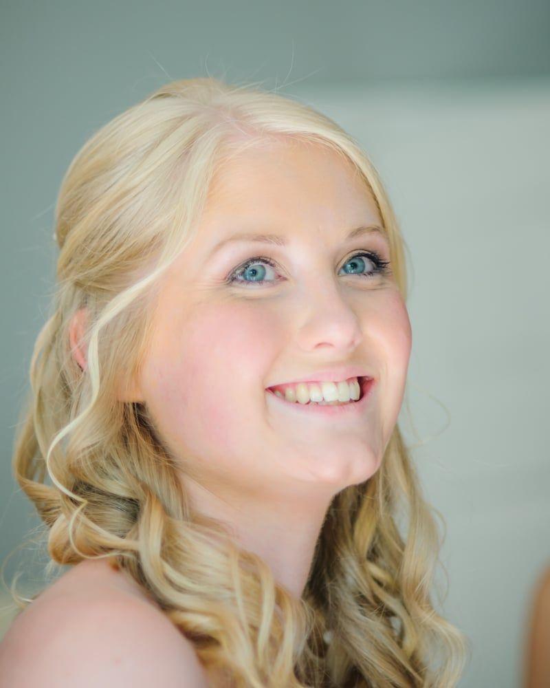 Emma smiling, Maynard wedding, Sheffield photographers