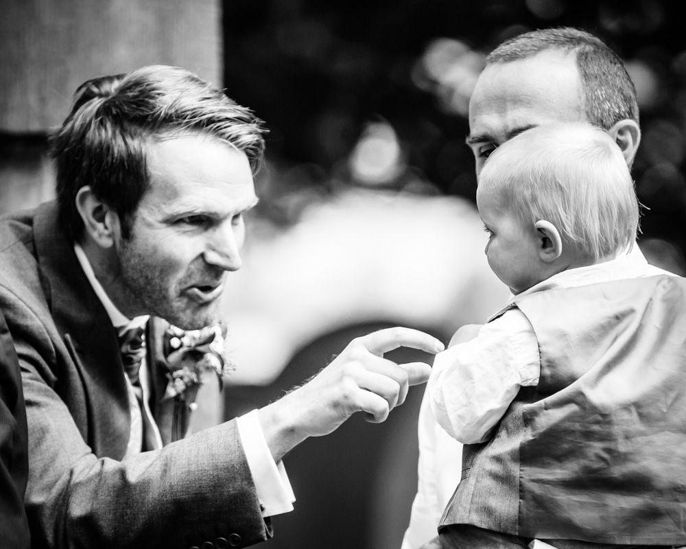 Nick meeting the children at wedding, Maynard wedding, Sheffield photographers