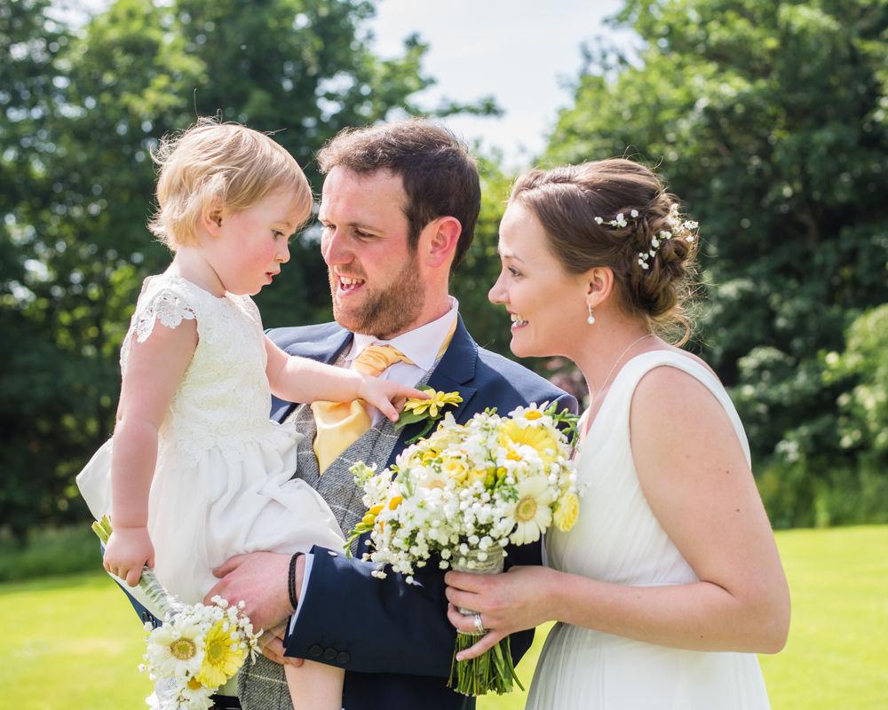 Bride, groom and groom's daughter portrait, Ringwood Hall, Sheffield