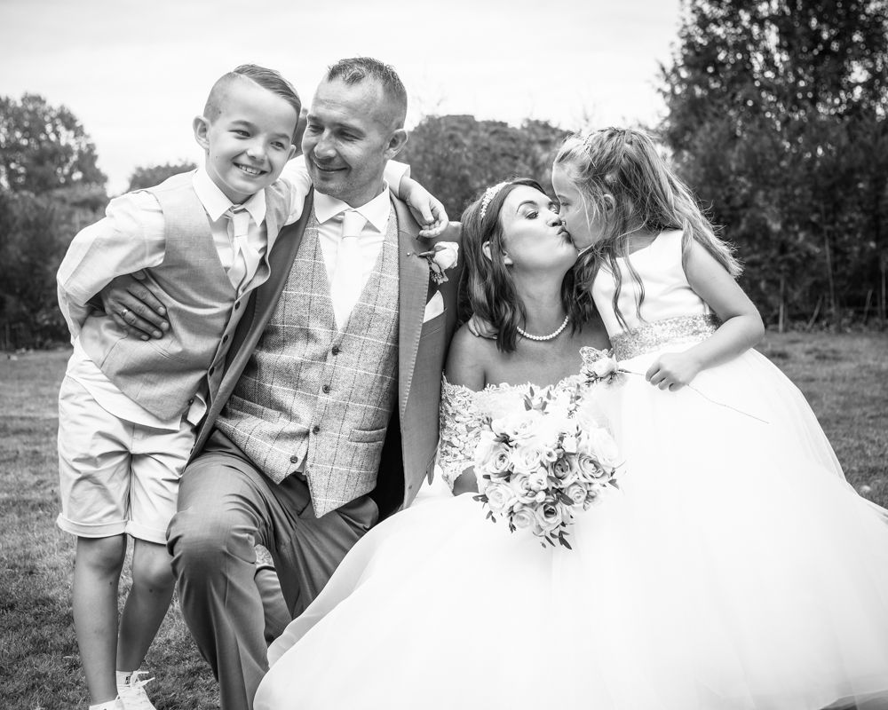 Bride and groom with kids portrait, Aston Hall, Sheffield wedding