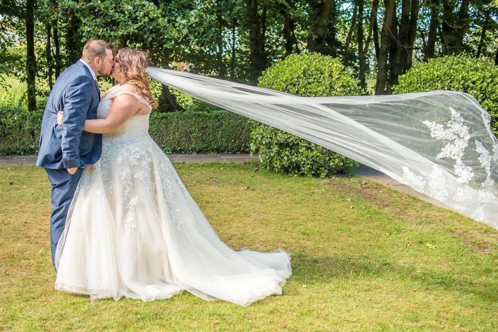 Bride's veil blowing, Ye Olde Bell wedding, Retford