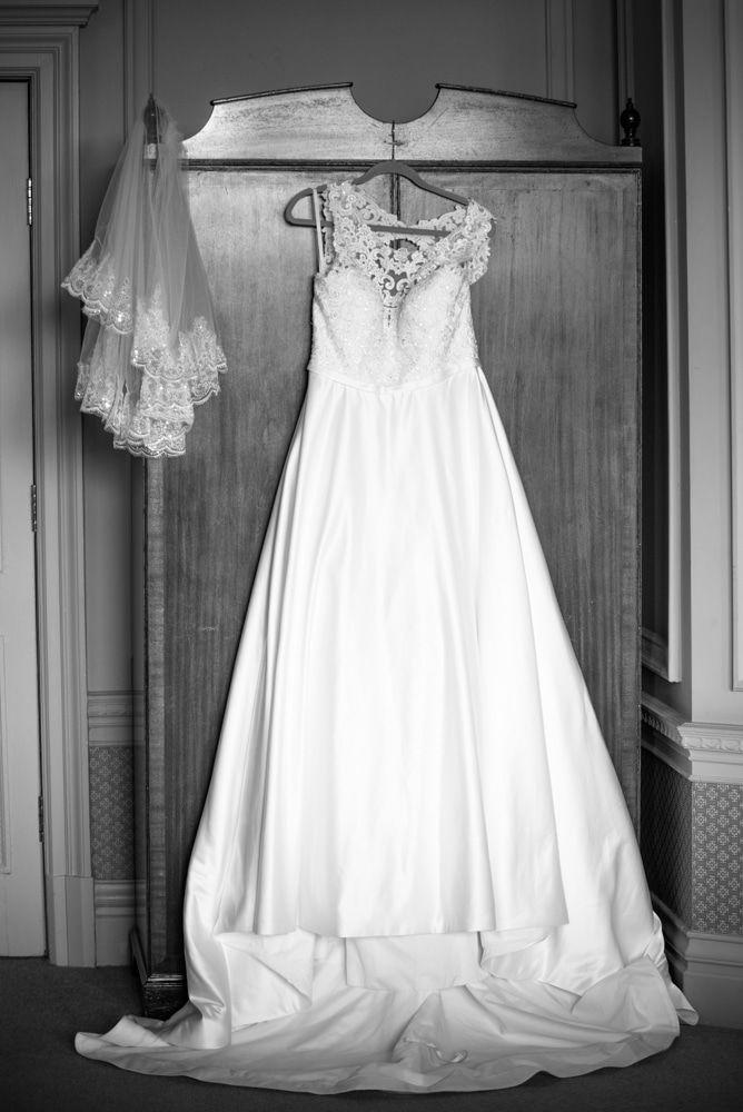 Judith's wedding dress hanging up, Merewood Country Hotel Hotel weddings, Lake District