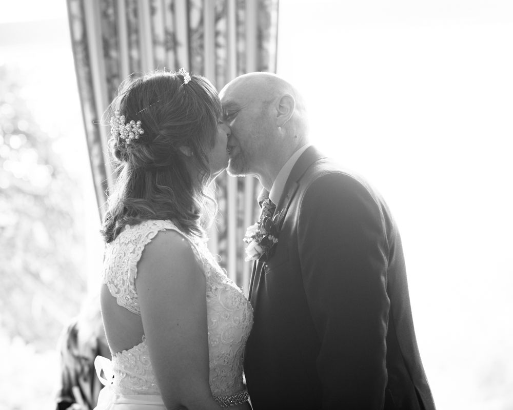 First kiss, Merewood Country Hotel Hotel weddings, Lake District