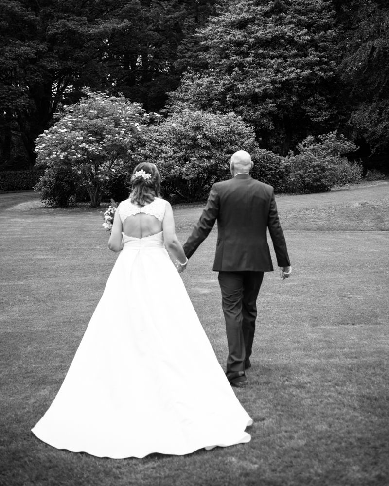 View of dress from behind, Merewood Country Hotel Hotel weddings, Lake District