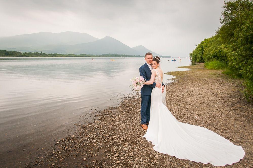 Bassenthwaite shores wedding photo, Castle Inn Hotel weddings, Lake District